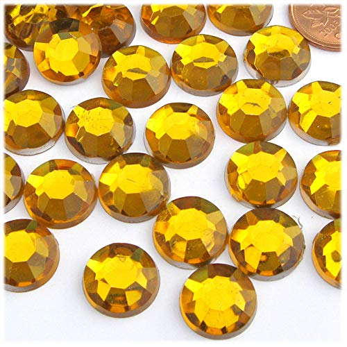 The Crafts Outlet 1000-Piece Flatback Round Rhinestones, 14mm, Golden Yellow