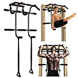 EKN Pull Up Bar Station Foldable for Door, with Upgraded Thickened Steel No Installation Needed Multi-Grip Chin Up Bar Stand Wall Mounted Exercise Equipment Fits Almost All Doors