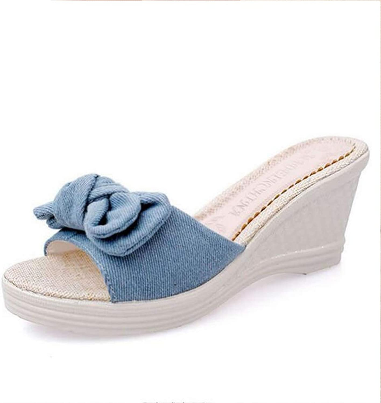 T-JULY Women Butterfly-Knot Flip Flops Summer Slippers Platform Wedges High Heels Sandal Pumps shoes