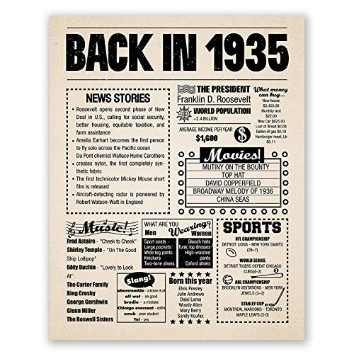 Image of the 8x10 1935 Birthday Gift // Back in 1935 Newspaper Poster // 85th Birthday Gift // 85th Party Decoration // 85th Birthday Sign // Born in 1935 Print
