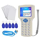 HFeng 10 Inglés Frecuencia NFC RFID Smart Copiadora Lector Tarjetas Escritor Duplicador Programador Lector y Escritor 125KHz 13.56MHz USB + 10 piezas Tarjeta Escribible Llavero EM4305 UID