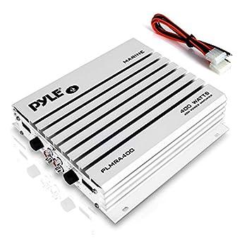 Pyle Hydra Marine Amplifier Upgraded Elite Series 400 Watt 4 Channel Audio Amplifier Waterproof Dual Mosfet Power Supply Gain Level Controls RCA Stereo Input & LED Indicator  PLMRA400 ,BLACK