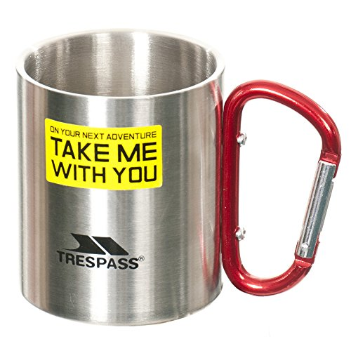 Trespass Bruski, Silver, Doppelwandiger Edelstahl Campingbecher 230ml mit Karabinergriff, Grau