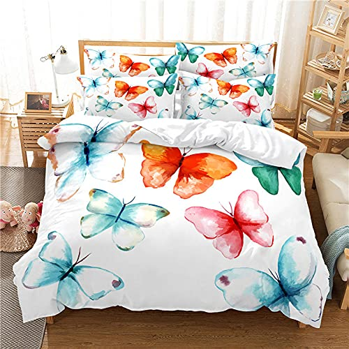 Bettwäsche 135X200 3D Schmetterling Bettbezug Set 3D,Bettbezüge Mikrofaser Bettbezug mit Reißverschluss und 2 Kissenbezug 80X80cm ,Bettbezug Jugendliche ,Bettwäsche-Sets Modern
