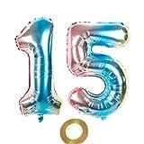 Globos de 100 cm con número 15 en arco iris para decoración de cumpleaños o bodas, 100 cm
