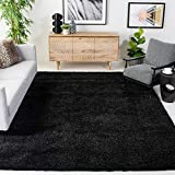 SAFAVIEH California Premium Shag Collection SG151 Non-Shedding Living Room Bedroom Dining Room Entryway Plush 2-inch Thick Area Rug, 8' x 10', Black