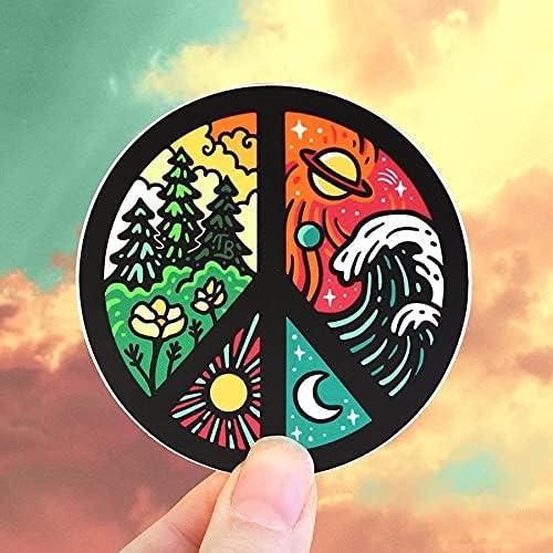 Peace Detroit Mall Vinyl Sticker Weatherproof Flowe Outdoor - Popular Nature