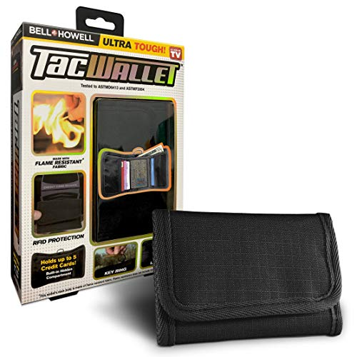 tough wallets Bell + Howell TAC WALLET Tactical Trifold Slim Wallet for Men, RFID Blocking, Flame Resistant, Multipurpose Security Wallet - Holds up to 5 Credit Cards As Seen On TV!