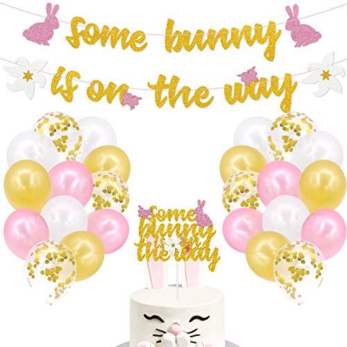 Bunny Baby Shower Party Decorations Kits, Some Bunny Is On The Way Spring Floral Little Bunny Cake Topper Pink Gold White Latex Balloons For Spring Easter Themed Baby Girls Gender Reveal Party Supplies