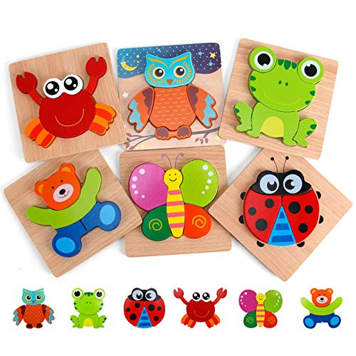 Slotic Wooden Puzzles for Toddlers - Animal Jigsaw Puzzles for 1 2 3 Years Old Boys & Girls, Kids Educational Toys (6 Pack)