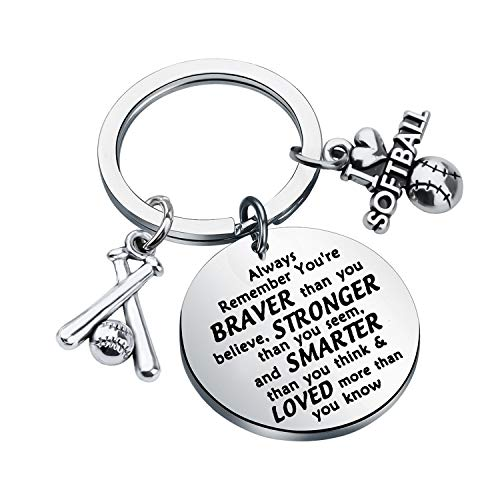 BAUNA Softball Keychain Softball Gift Always Remember You are Braver Than You Believe Keychain with Inspirational Quote for Softball Player Team Coaches (Softball Keychain)