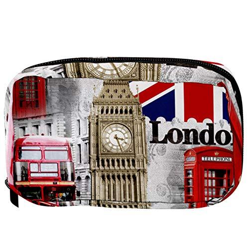 Bolsas de Maquillaje Estuche multifunción para Organizador de Bolsas de cosméticos de Viaje portátil Bandera Británica Reloj Teléfono Booth Autobús con Neceser con Cremallera para Mujer
