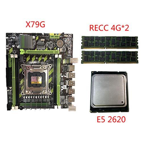 Qiuxiaoaa Placa Base X79G Placa Base LGA 2011 DDR3 con Interfaz M.2 E5 2620 CPU Tarjeta de Memoria 2x4G para CPUs In-Tel Xeon E5 Core I7 Placa Base Negro + Verde