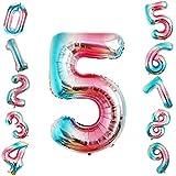 Siumir Globo de Número Globo Digital Gigante 40 Pulgadas Arcoiris Gradient Papel De Aluminio Globo Decoración de Fiestas de Cumpleaños (Número 5)