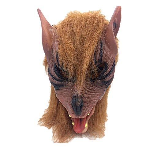 Monbedos Mscara de ltex para Disfraz de Lobo marrn, para Halloween, Cosplay, Fiesta, Disfraz
