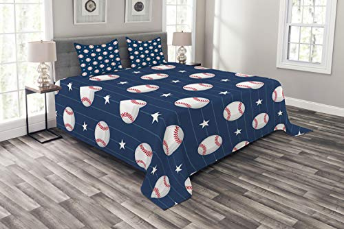 Ambesonne Sports Bedspread, Baseball Patterns on Vertical Striped Background Stars Design Lines Hobby Themed Print, Decorative Quilted 3 Piece Coverlet Set with 2 Pillow Shams, Queen Size, Blue Red