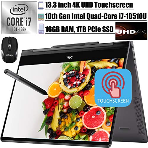 2020 Latest Dell Inspiron 13 7000 2-in-1 Laoptop 13.3' UHD 4K Touchscreen Intel 4-Core i7-10510U 16GB RAM 1TB PCIe SSD Backlit FP Thunderbolt3 Active Pen Win10+iCarpWirelessMouse