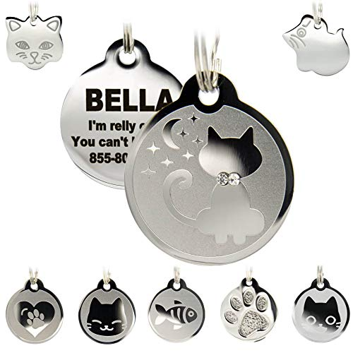 Stainless Steel Cat ID Tags - Engraved Personalized Cat Tags Includes up to 4 Lines of Text with Kitty Shape