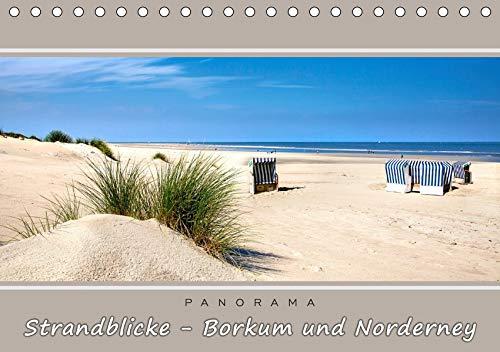 Strandblicke Borkum und Norderney (Tischkalender 2021 DIN A5 quer): Atemberaubende Panorama-Strandbilder (Monatskalender, 14 Seiten )