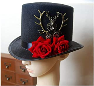 SHENTIANWEI Retro Women Black Steampunk Top Hat with Rose Dance Party Hat Wedding Hat Bowler Hat Size 57CM