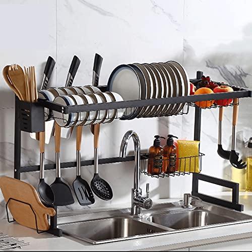 Gran Capacidad Escurreplatos,Estante Organizador para Fregadero,con Ganchos para Utensilios de Cocina, Almacenamiento para Platos, Cuencos y Ollas.
