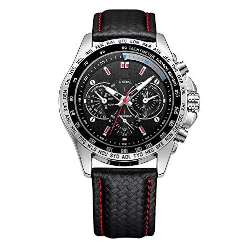 Voigoo Sport Herrenuhr Top-Marke Luxuxquarz Mann-Uhr-Art und Weise beiläufige Lederband Uhr Männer großes Zifferblatt Erkek Saat