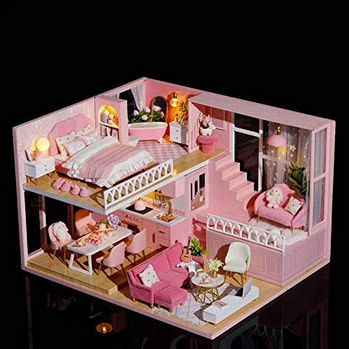 Qians DIY Dollhouse Kit 3D ensamblado Loft Casa Hecha a Mano Accesorios para muñecas Casa de muñecas con Movimiento Musical Casa de Madera Casa Tridimensional Rosa para Regalo de San Reasonable