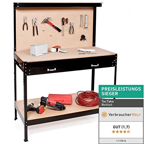 TecTake Werkbank | Werkzeugbank mit Schublade | Lochwand für hängende Werkzeuge - Verschiedene Größen (120 x 60 x 156 cm | Nr. 400855)