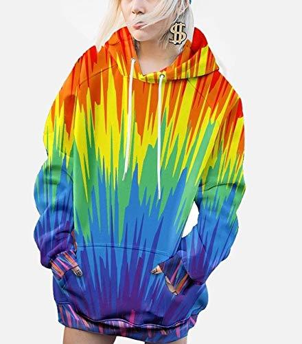QIANHEDAMAI Herfst Winter Hoodie Mannen En Vrouwen Regenboog Hip Hop Unisex All Over Print Lange Mouw Pullover Sweatshirt Jassen