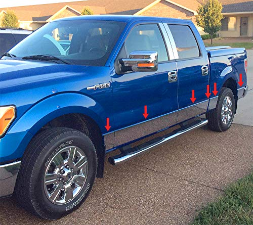 Made in USA! Compatible with 2009-2014 Ford F150 Crew Cab 5.5' Short Bed W/O Fender Flare Rocker Panel Chrome Stainless Steel Body Side Moulding Molding Trim Cover 7' Wide 12PC