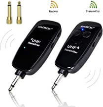Wireless Guitar System, XIAOKOA Rechargable Transmitter and Receiver, UHF 50M Transmission Range for Electric Guitar, Bass, Violin, Speakers, Voice Amplifier, PA System
