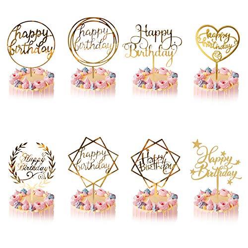 Happy Birthday Cake Topper, 8 Pcs Oro Decoración para Tarta Niñas Niños Mujeres Hombre Decoración de Pastel Cumpleaños, Acrílico Cupcake Topper para Tartas Suministros Purpurina Decoración Fiesta