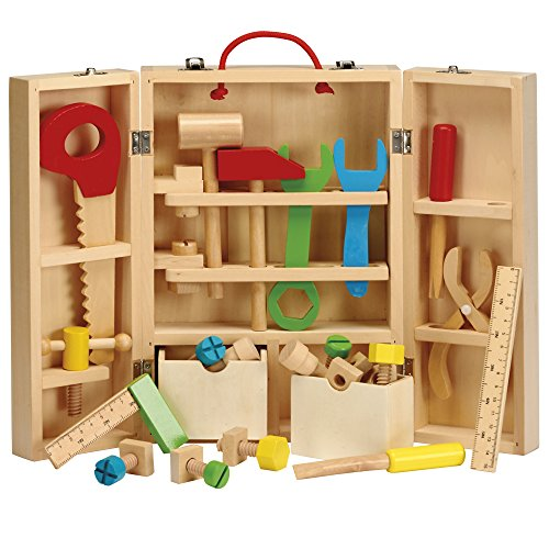 My Play Kinder DIY Schreiner Spielzeugbau- & Lernspielset, 26-teiliges, tragbares Set, mehrfarbige Holzwerkzeuge und Tragetasche (26-teiliges Set) - Alter 3+