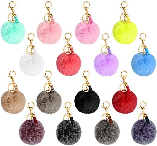 16 Pieces Pom Poms Keychain Fluffy Faux Fur Pompoms Keyring with Tassel Pendants Mixed Color product image