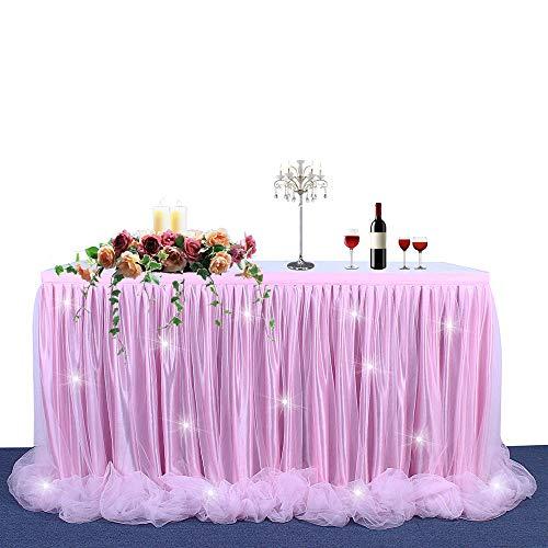 BEST OF BEST STORE Traum Prinzessin Stil Tüll Tischrock Flauschige Mesh Tischdecke für Rechteck oder Runde Tische Geburtstag Hochzeit Baby Shower Party Dekoration(6ft, Pink+Light)