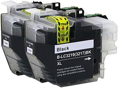 2 SCHWARZ Druckerpatronen für Brother MFC-J5330DW, MFC-J5335DW, MFC-J5730DW, MFC-J5930DW, MFC-J6530DW, MFC-J6930DW, MFC-J6935DW | kompatibel zu Brother LC-3219XL BK