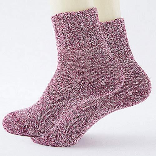 Calcetines Gruesos Deportes Mujer Señora Algodón Suave Casual Invierno cálido Calcetín de Resistencia al frío Purple