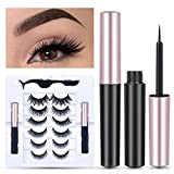 BSFORV Magnetic Eyelashes with Eyeliner, 2 Tubes of Smooth Liquid Magnetic Eyeliner and 6 Pairs Reusable Magnetic False Lashes with Tweezers