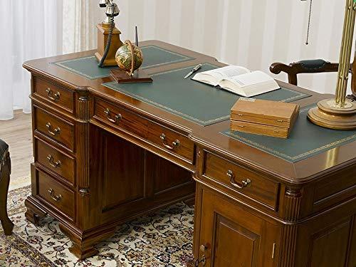 Simone Guarracino Partner Schreibtisch Victorian Englischer Stil Büro Doppelschreibtisch 140 cm walnuss Kunstleder grün