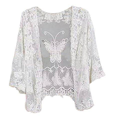 Adelina dames zomer casual beachwear Moda Giovane bikini cover up met kant cardigan crochet uithoshlen Sunscreen vlinder hoed chiffon blouse effen One Size tuniek kleding
