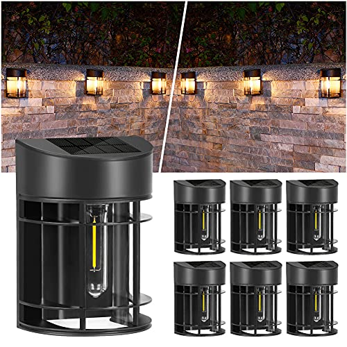 Solar Wall Lights Outdoor - 6 Pack Solar Deck Lights Outdoor Patio and Fence Light Waterproof Decorative Light Fixture Wall Mount with No Wiring Required, Warm White