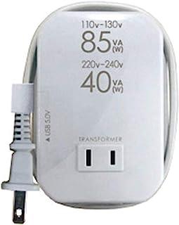 カシムラ 海外用 薄型2口 変圧器 USB出力端子付 AC110V ~ 130V / 85W , AC220V ~ 240V / 40W 本体電源プラグ Aプラグ / 出力コンセント Aタイプ NTI-111