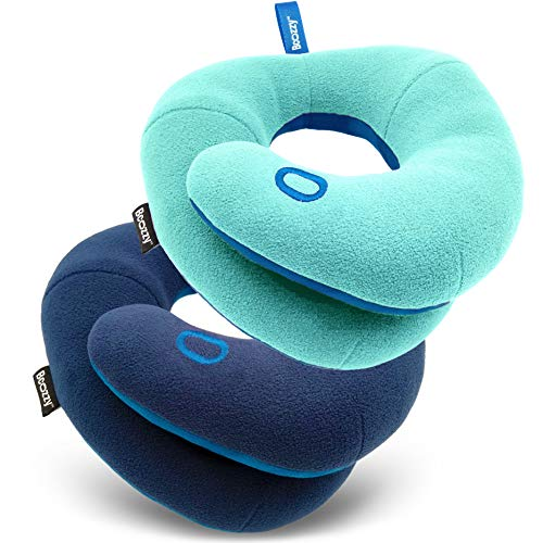 BCOZZY Kids Bundle- 2 Travel Neck Pillows for Toddlers- Super Soft Head, Neck, and Chin Support, for Comfortable Sleep in Car Seat Booster and Plane- Washable, Light Blue, Navy