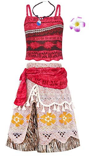 AmzBarley Moana Kostüm Kinder Mädchen Kleid Abenteuer Outfit Cosplay Kleidung Halloween Karneval Party Rock Rot 001+2Pcs 5-6 Jahre 130