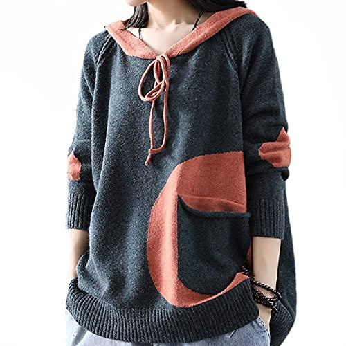 LYDHDY Sweater de Punto de algodón con Capucha for Mujer - Invierno Moda Coreana Gimnasio Jersey Señoras Espesar Ropa Pullovers Vintage (Color : Dark Grey, Size : L)