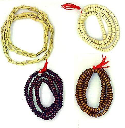 Kanthi Malas (Rojo/Blanco/Marrón/Kanti) con Chandan Tika Libre (Combo de 4 Mala)