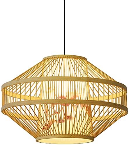 BHJH7 Lámpara Colgante de Mimbre y ratán Wave Lámpara Colgante de Pantalla de Jaula de pájaros Japonesa Vintage Comedor Cafetería Restaurante Accesorios de iluminación Candelabro de Estilo Rural Mini