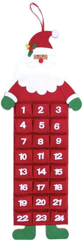 Details about  /Large Felt Christmas Advent Calendar With Pockets Xmas Santa Reindeer Or Snowman