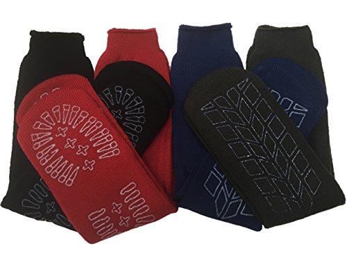 4x Pairs Men's Thermal Lounge Gripper Slipper Socks Non Slip Sole/UK 7-11 Eur 41-46
