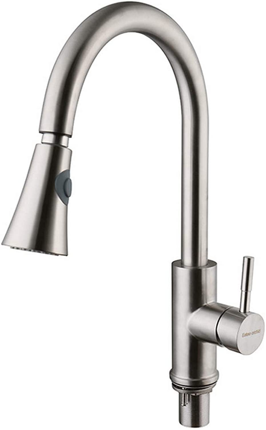 Kitchen Faucet Pull-Down Single Hole Stainless Steel Brushed 360 Degree redating Multi-Function Hot and Cold Adjustment Sink Water-tap